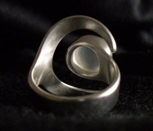 Crescent moon unique rings, handmade jewellery made with sterling silver and moonstone